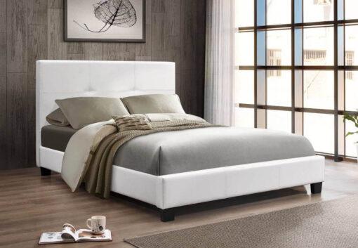 Primero PU King Platform Bed White