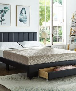Rakefet Platform bed with Storage Drawers in Black Leather