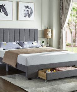 Rakefet Platform bed with Storage Drawers in Grey Fabric