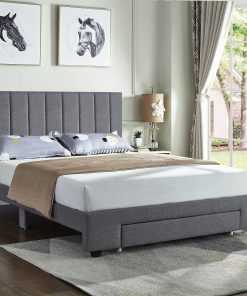 Rakefet Platform bed with Storage Drawers Grey Fabric Closed