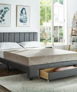 Rakefet Platform bed with Storage Drawers Grey Leather