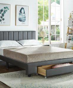 Rakefet Platform bed with Storage Drawers Grey Leather