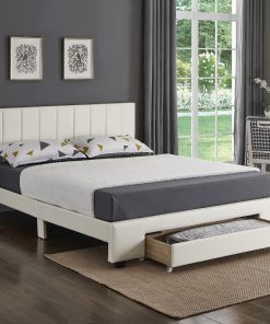 Rakefet Platform bed with Storage Drawers White Leather