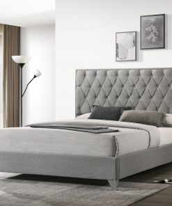 Raya Luxury Platform Bed Grey Fabric