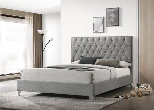 Raya Luxury Platform Bed Grey Fabric