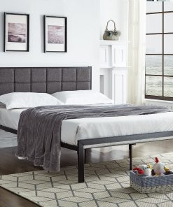 Tia Padded Platform Bed in Grey