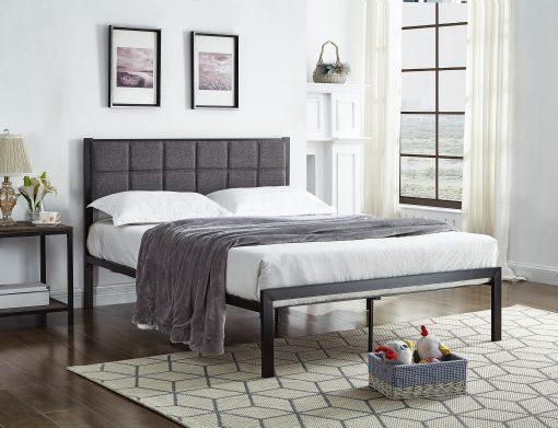 Tia Padded Platform Bed in Grey