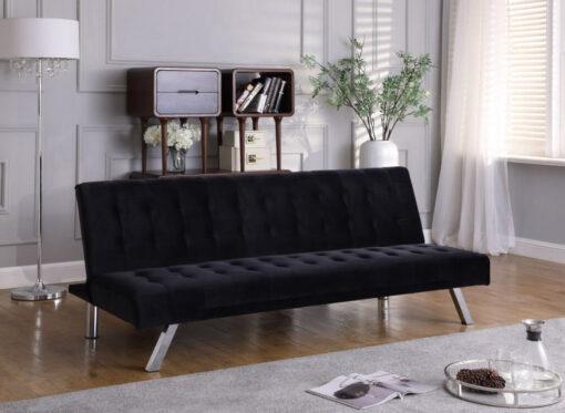 Velvet Klik Klak Futon Sofa Black