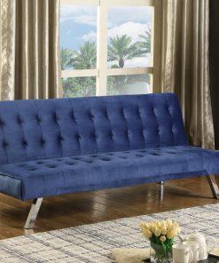 Velvet Klik Klak Futon Sofa Blue Colour
