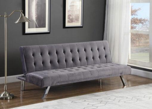 Velvet Klik Klak Futon Sofa Grey