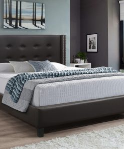 Vivid King Brown Colour PU Platform Bed