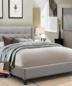 Vivid King Fabric Platform Bed Light Grey Colour
