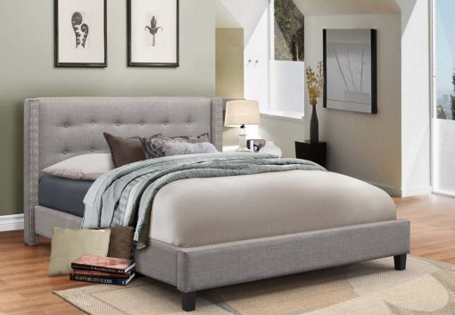 Vivid King Fabric Platform Bed Light Grey Colour