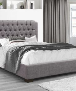 Yana Modern Grey Fabric Platform Bed