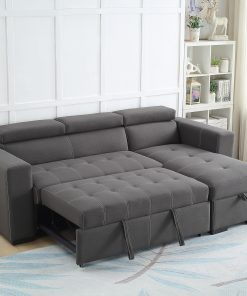 Zara Modern Grey Reversible Sectional Sofa Open