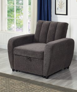 Image depicts The Amaia Grey Sofa Bed - One Seater which is multifunctional and converts from a chair into a single bed to provide extra sleeping space.
