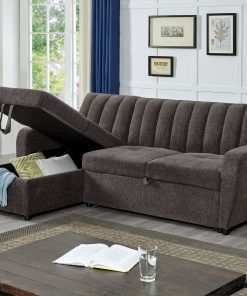 Image depicts The Amaia Grey Sofa Bed - Sectional which is a great choice for small to medium living room areas and provides extra storage and sleeping space.