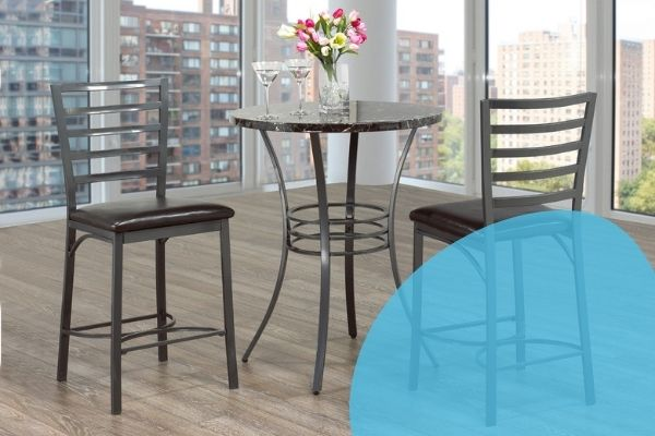 Image depicts two bar stools and a tall table.