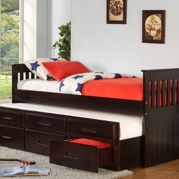 Image depicts a bed with built-in storage