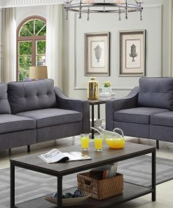 bezzito 3 pieces grey fabric sofa set