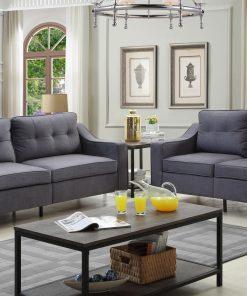 bezzito 3 pieces grey fabric sofa set