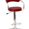 Image depicts the Chiara Modern Bar Stool which is made of stylish and beautiful red faux leather and is height adjustable.