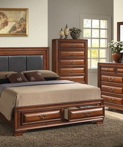 Image depicts the The Christina High End Bedroom Set which comes with a King or Queen-size bed and a chest, dresser, night stand, and mirror.