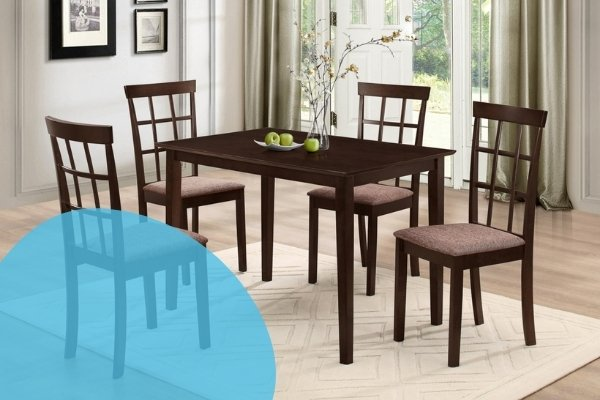 Image depicts a dining set with four cushioned dining chairs.