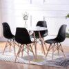 eiffel 5 piece round dining set in black
