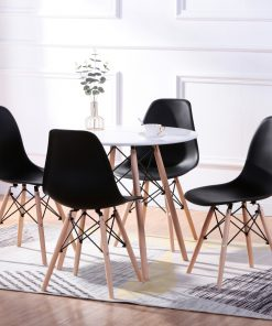 eiffel 5 piece round dining set in black