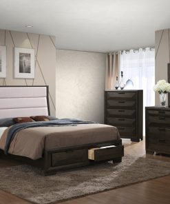 Image depicts the The Emma High End Bedroom Set which comes with a King or Queen-sized bed and a chest, dresser, night stand, and mirror.
