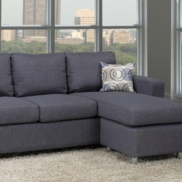 Image depicts a blue sectional sofa.