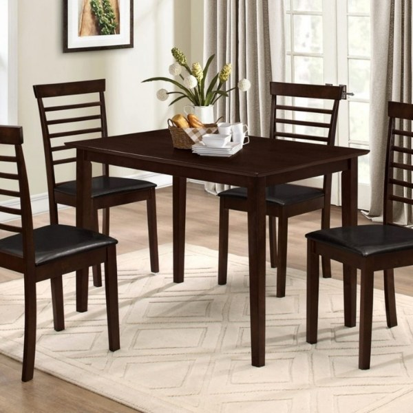 Image depicts a dining set made up of a black dining table and four black chairs.