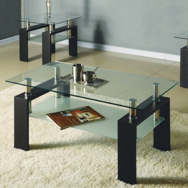 Image depicts a modern glass coffee table.