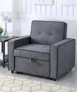Image depicts the Greece Dark Grey Sofa Bed - One Seater which comes with a black piping style that converts into a single sofa bed.