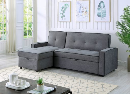 Image depicts the The Greece Dark Grey Sofa Bed - Sectional which comes with black piping style that converts into a sofa bed.