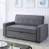 Image depicts The Greece Dark Grey Sofa Bed - Two Seater, which comes with a black piping style and converts into a sofa bed.