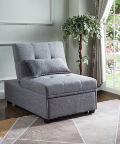 Image depicts the Grey Fabric Transformable Chair Bed which can transform from ottoman to chair to sofa bed.