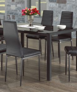 7Pc Black Colour Glass Dining Set