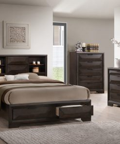 Image depicts the The Laura High End Bedroom Set which comes with a King or Queen-size bed and a dresser, chest, night stand, and mirror.