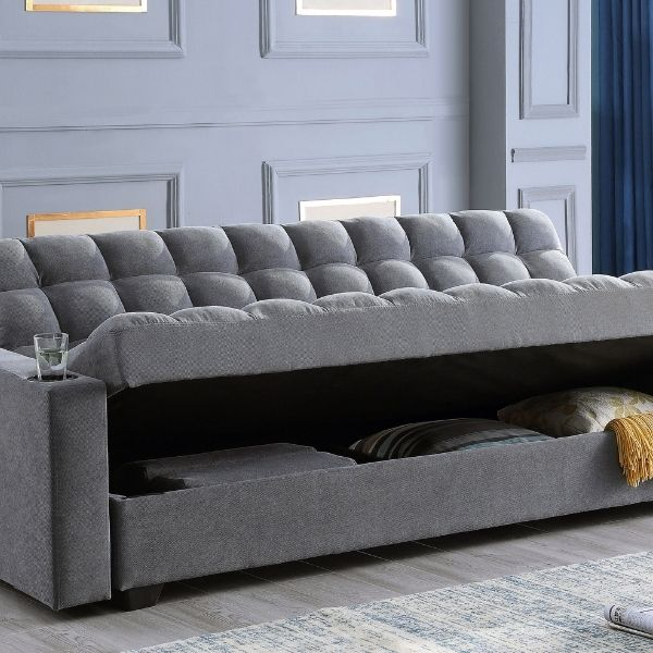 Image depicts a modern grey sofa with storage under the seating.