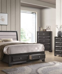 Image depicts the The Natalie High End Bedroom Set, which comes with a King or Queen-size bed and a chest, dresser, night stand and mirror.