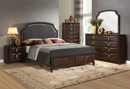 Image depicts The Nina High End Bedroom Set which comes with a King or Queen-sized bed and a dresser, chest, night stand, and mirror.