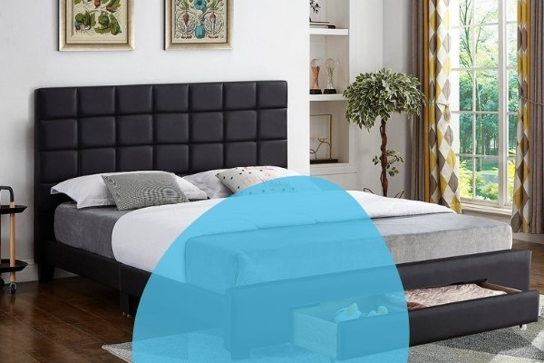 Image depicts a modern bed with a black headboard.