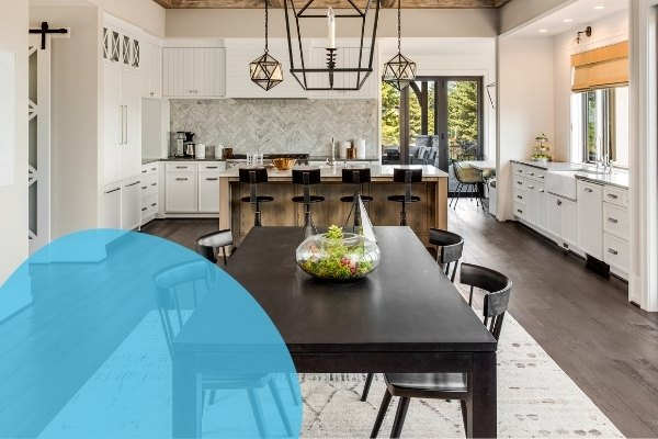 Image depicts black dining room furniture in a kitchen made of wood.
