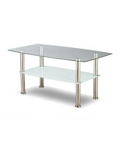 Image depicts the stylish Rectangular Coffee Table which is made with 6mm tempered clear glass and frosted bottom glass.