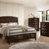 Image depicts the The Roxy High End Bedroom Set which comes with a King or Queen-sized bed and a dresser, chest, night stand, and mirror.
