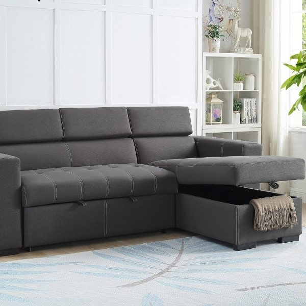 Image depicts a sectional sofa with a storage compartment.