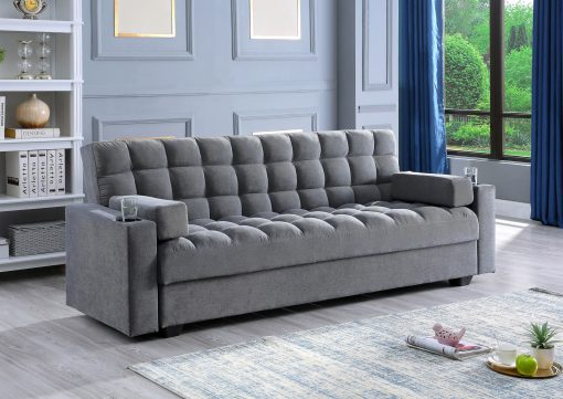 Image depicts the Sofa Klik Klack With Storage Sofa Bed which comes with extra storage compartment and two cup holders.