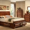 Image depicts the The Sofia High End Bedroom Set which comes with a King or Queen-size bed and a dresser, chest, night stand, and mirror.
